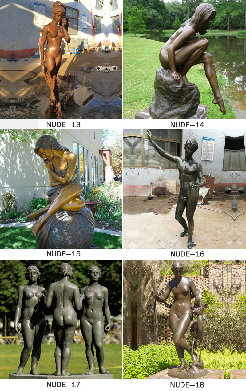 outdoor antique bronze western sculpture young naked girl stone statue for outdoor
