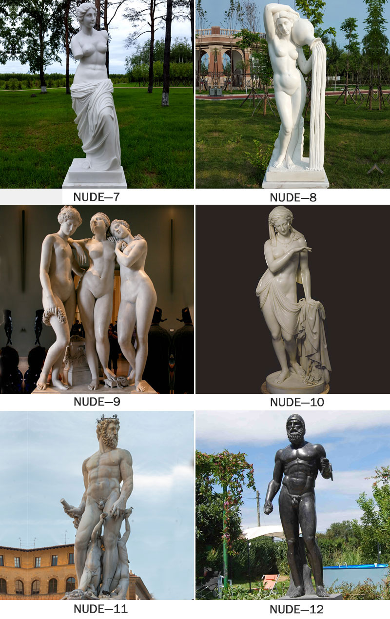marble nude statues Sexy naked women indian garden