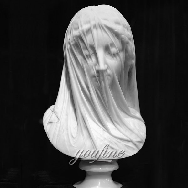 Famous art head statue The Veiled Virgin by Giovanni Strazza for home decor