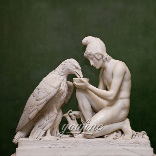 Famous art marble statues of Ganymede Waters Zeus as an Eagle by Bertel Thorvaldsen for garden decor