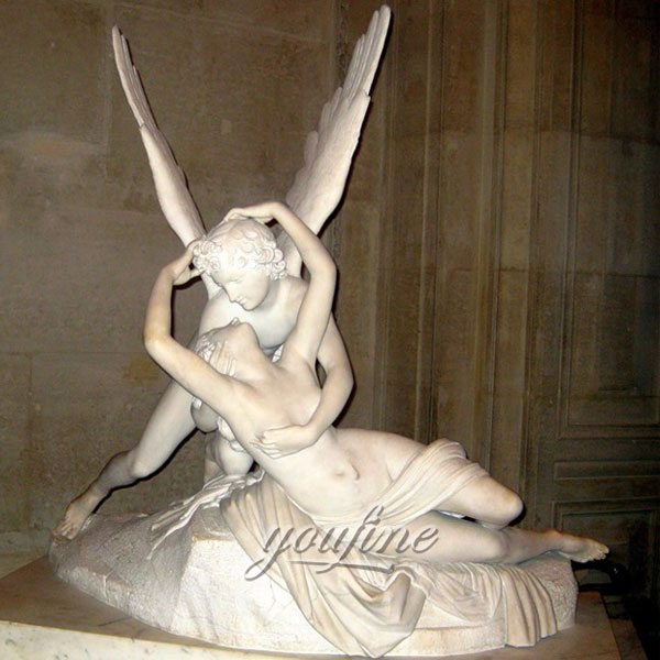 Famous art sculpture of Cupid and Psyche marble statue for garden decor