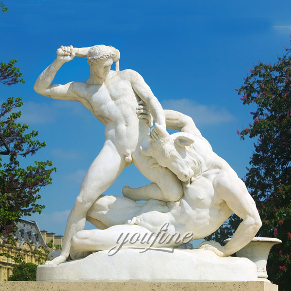 Famous art sculptures Theseus fighting the Minotaur by Jules Ramey for garden decor