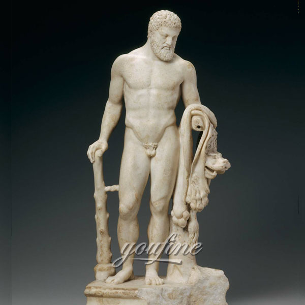 Famous art sculptures in roman life size stone marble Statue of Herakles for sale