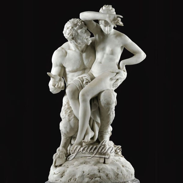 Famous art sculptures of Nymph and Satyr - Albert Ernest Carrier Belleuse for garden ornaments