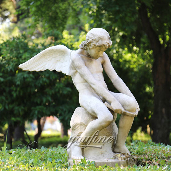 Famous art sculptures of marble child angel statue for garden decoration
