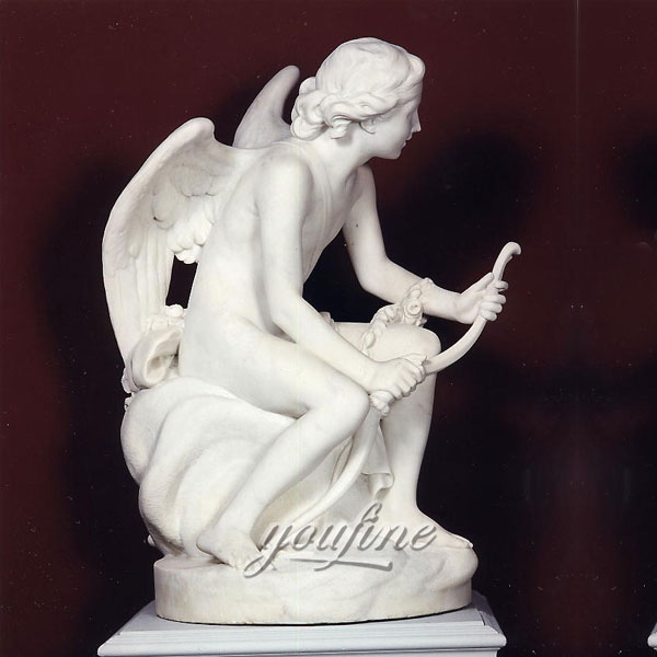 Large famous sculpture garden angel cupid with bow life size marble statues for sale