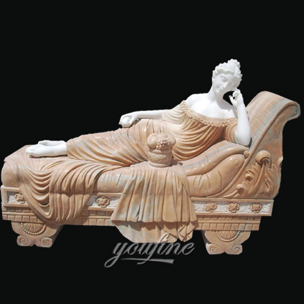 Outdoor life size marble sculptures of Paolina Bonaparte come Venere vincitrice for garden decor