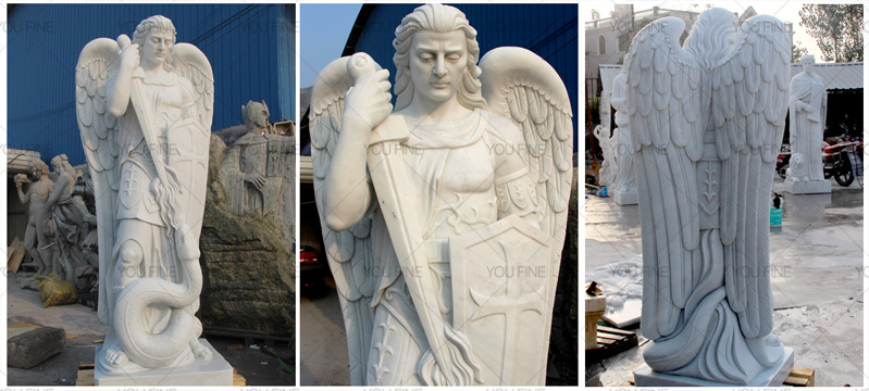 is carved from aslab of whitemarble, 180cm height, Made for Canada client Mike. He told us he plan to decorate his garden using this statue, he like the michael archangel and believe it could guard and protect his family number. This is the completed ,,