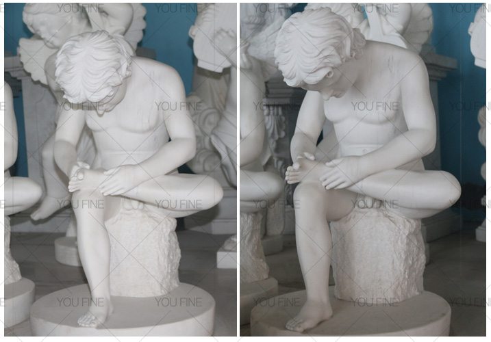 white marble Boy with thorn statue