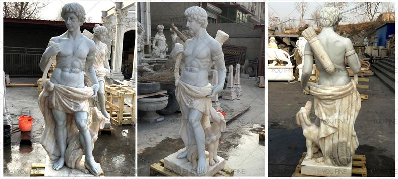 god of hunt marble statue